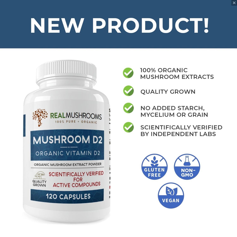 Mushroom D2 120 capsules Real Mushrooms