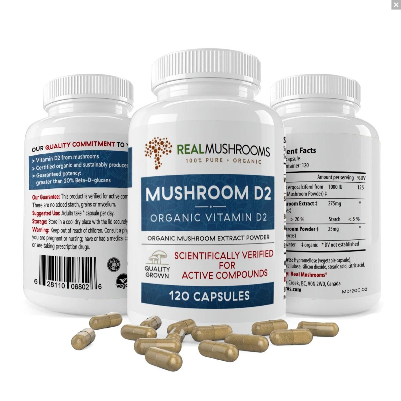 Mushroom D2 ,  120 capsules,Real Mushrooms