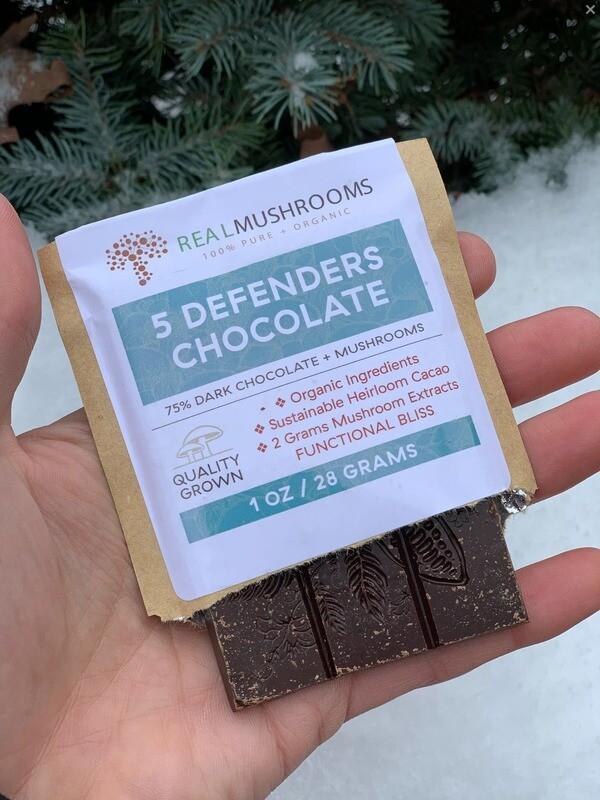 5 Defenders Chocolate ,5 pieces Real Mushrooms