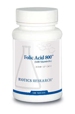 Folic Acid 800 (with B12) 180 Tablets  Biotics Research