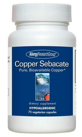 Copper Sebacate 4 mg 75 Vegetarian Caps Allergy Research Group