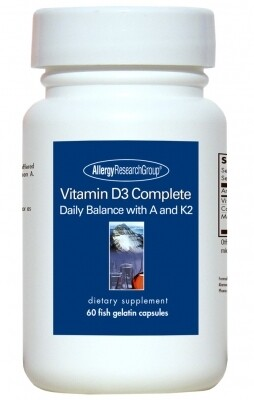 Vitamin D3 Complete 5000,Allergy Research Group, 60 Fish Gelatin Capsules