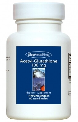 Acetyl-Glutathione ,Allergy Research Group,100 mg 60 Scored Tablets