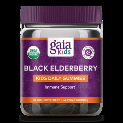 Black  Elderberry Kids 40 Gummies Gaia Herbs