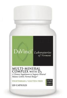 MULTI-MINERAL COMPLEX WITH D3  120 Capsules DaVinci Laboratories
