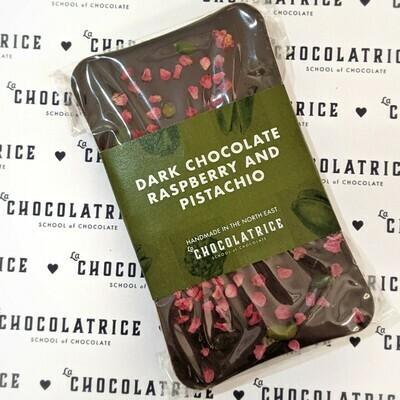 Dark Chocolate 55% Raspberry and Pistachio Bar (suitable for Vegan)