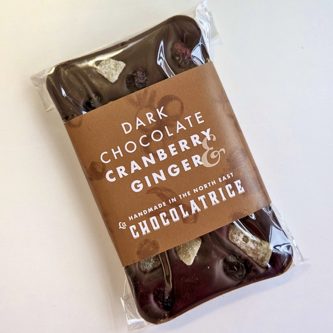 Dark Chocolate with Ginger and Cranberry (dairy-free)