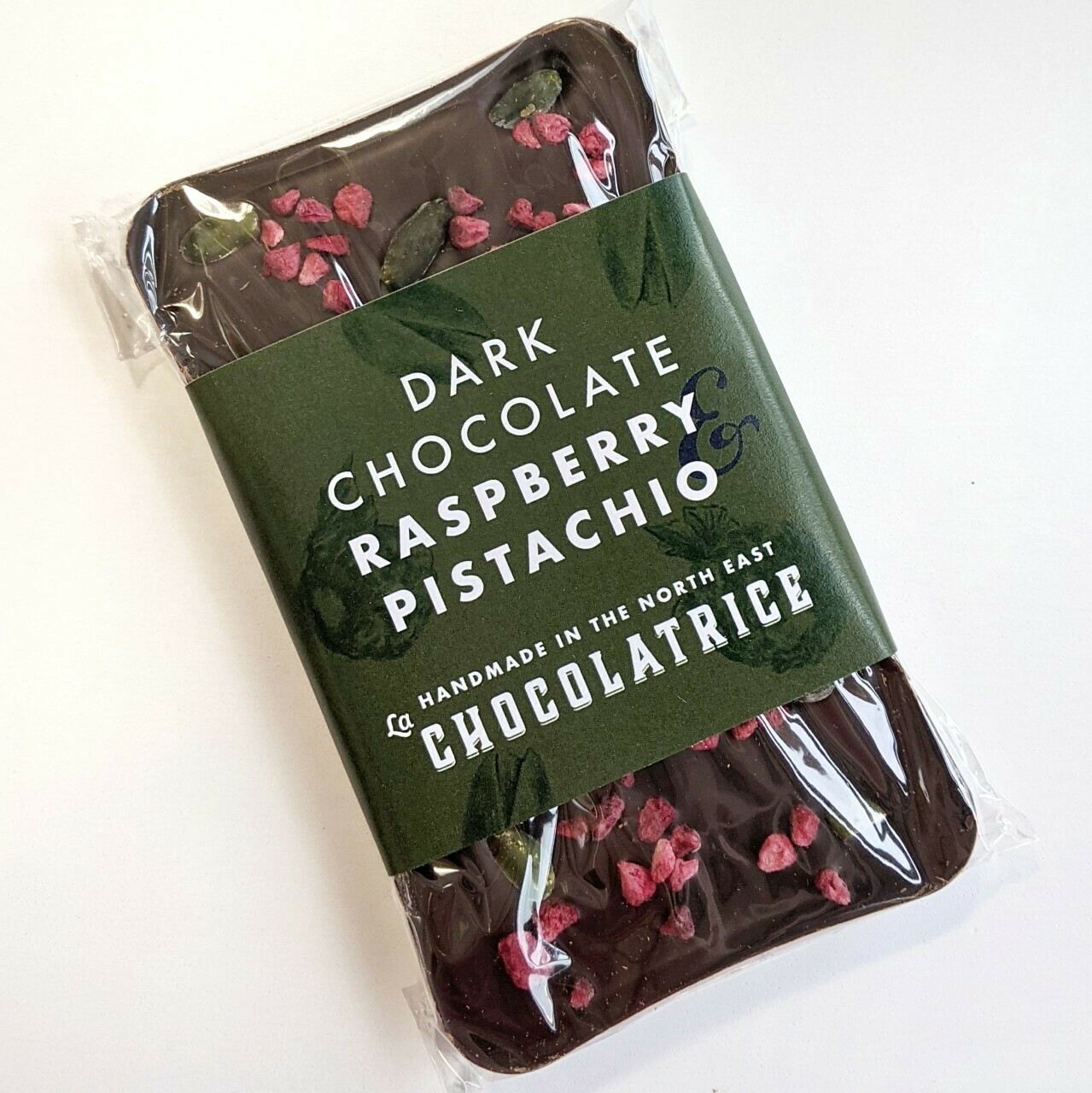 Dark Chocolate 55% Raspberry and Pistachio Bar (dairy-free)