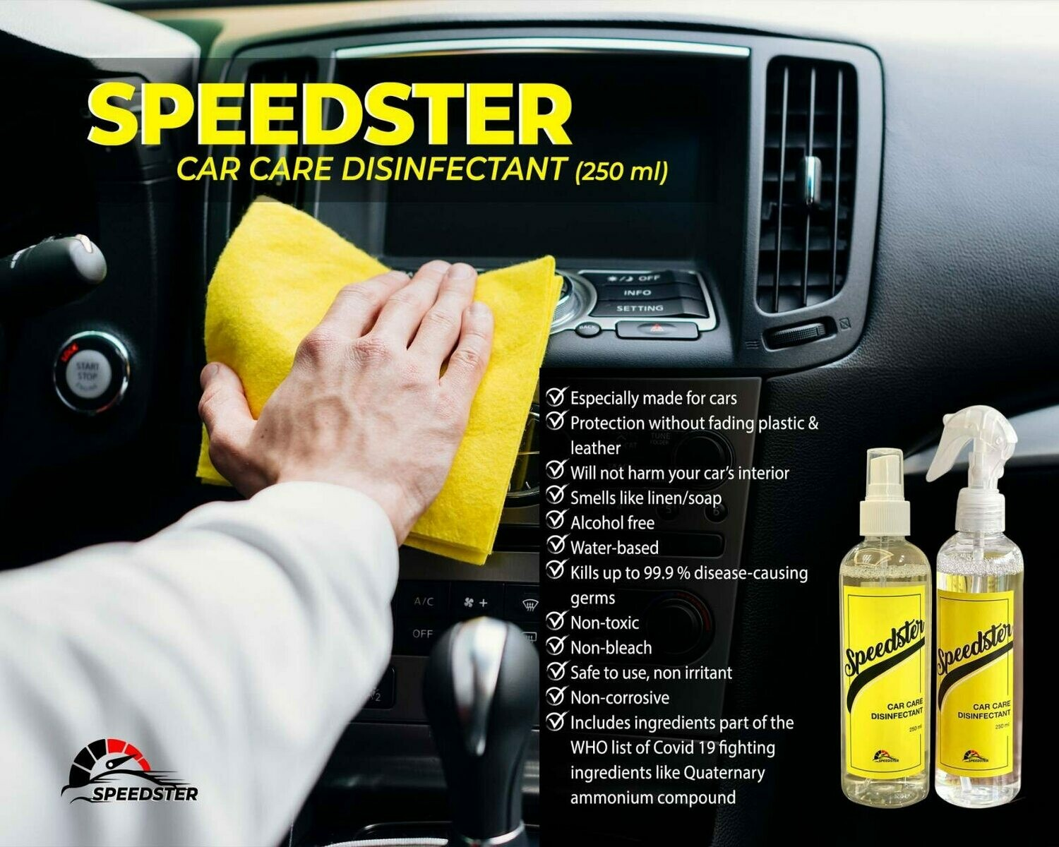 Speedster Car Care Disinfectant (250mL)
