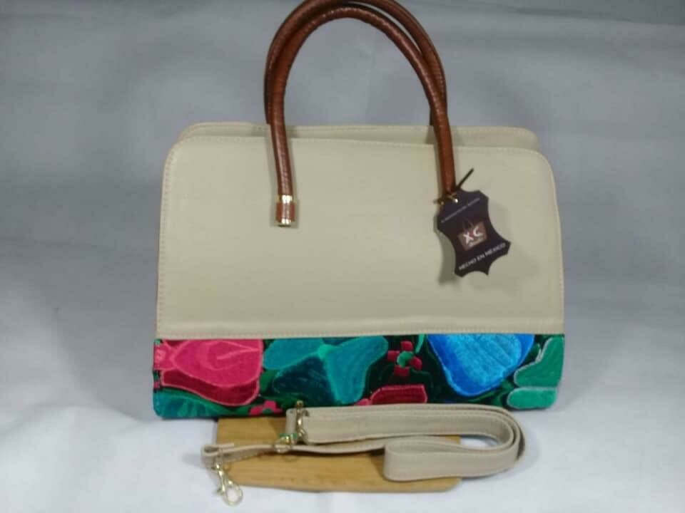 HANGBAG LEATHER EMBROIDERED BEIGE