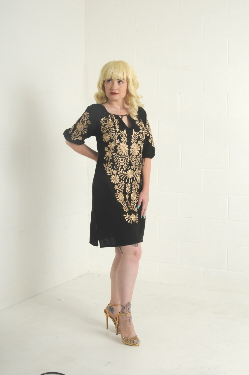 Black Embroidered Mexican Dress