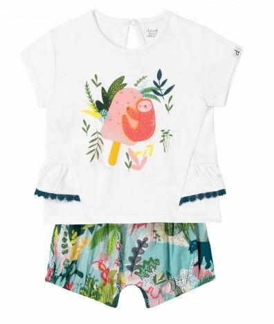 Deux Par Deux Sloth Tee & Jungle Short Set