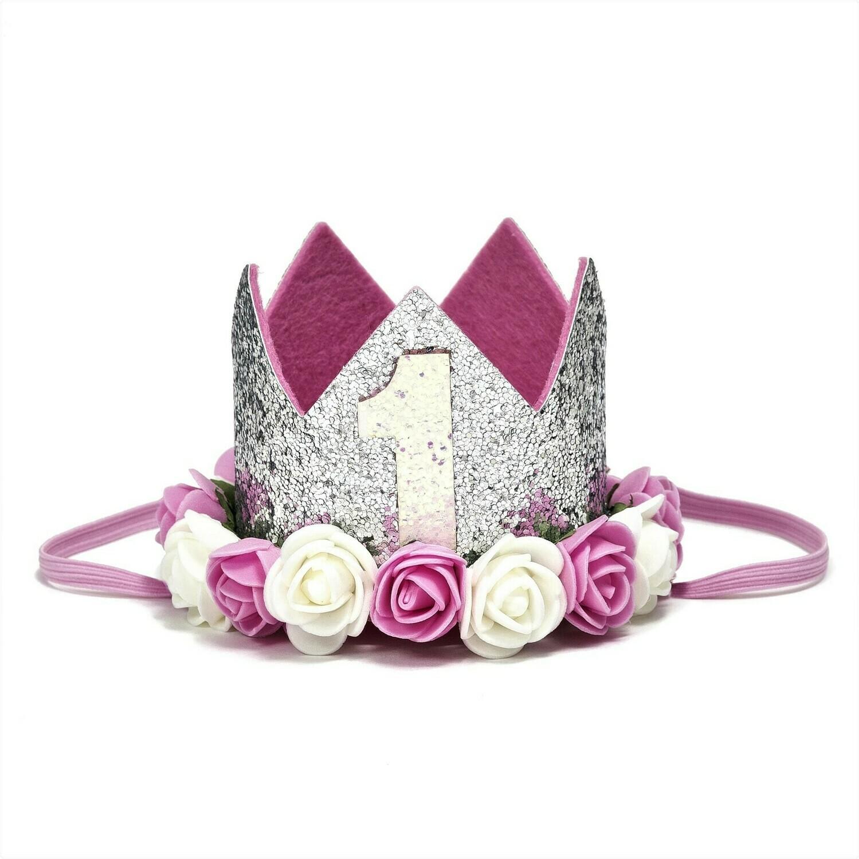 Sweet Wink Silver #1 Flower Crown (Baby
