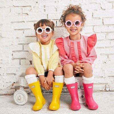 Tiny Trendsetter=White Floral Frame Sunglasses