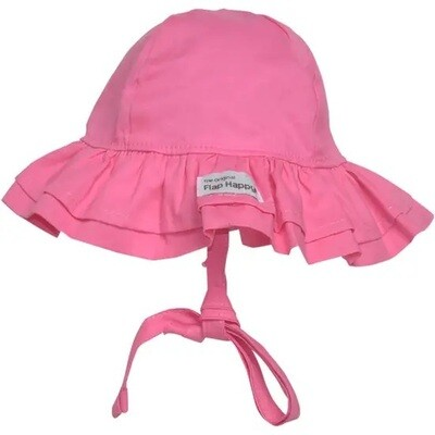 Flap Happy=Double Ruffle Hot Pink Hat