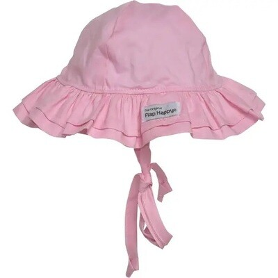 Flap Happy=Double Ruffle Pink Hat