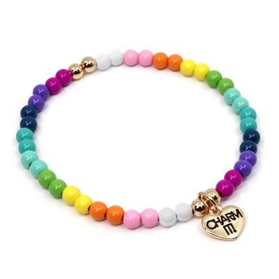 Charm It Rainbow Stretch Bead Bracelet CIBB105