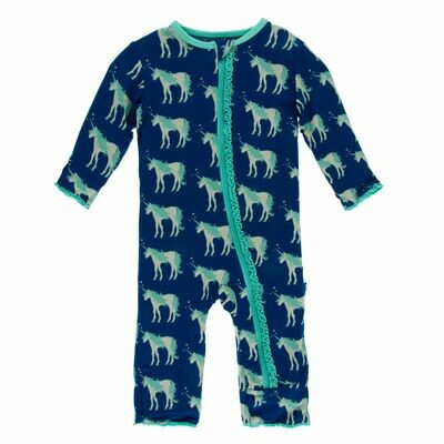 Kickee Zoology Coverall Flag Blue Unicorns