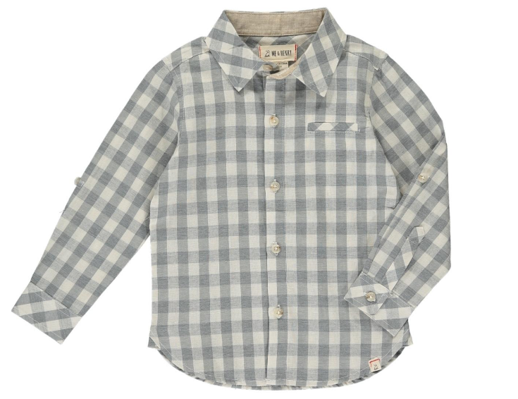 Me & Henry Grey/White Plaid Shirt HB560k