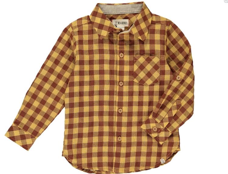 Me & Henry Rust/Mustard Plaid Shirt HB561j