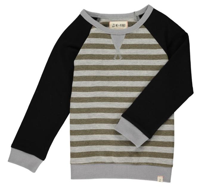 Me & Henry Beige/Gry Stripe Ragland Sweater HB540b