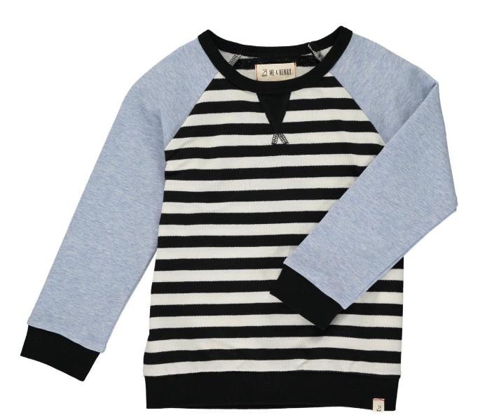 Me & Henry White/Blk Stripe Raglan Sweater HB540a