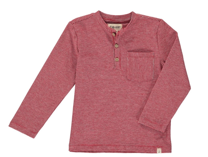 Me & Henry Red Stripe Henley Tee HB530a