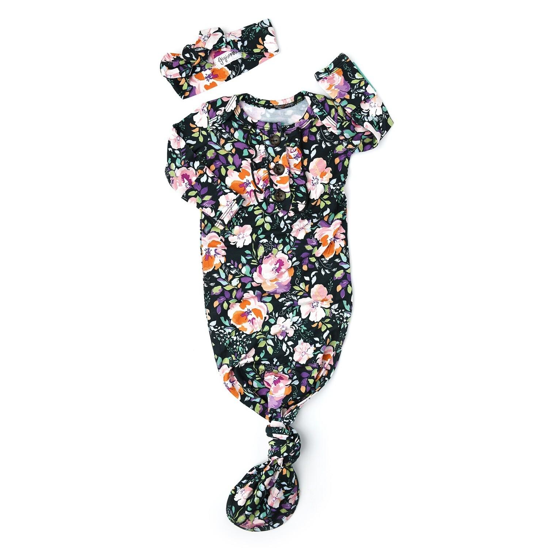 Gigi & Max Willow Floral Newborn Gown & Headband