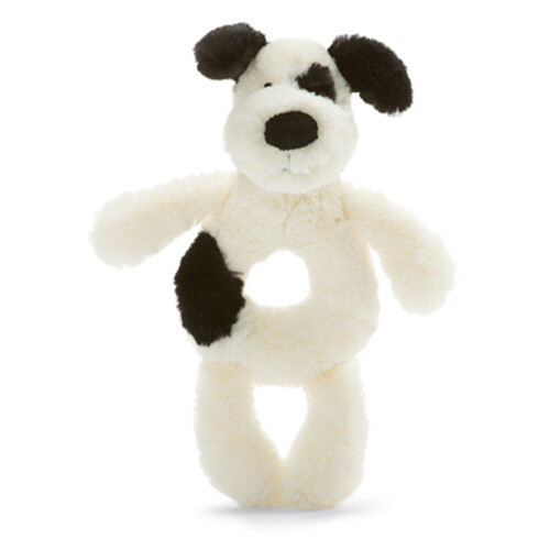 Jellycat Bashful Puppy Ring Rattle (blk & crm