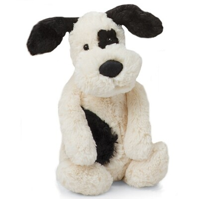 JellyCat Bashful Black & Cream Puppy Medium 12""