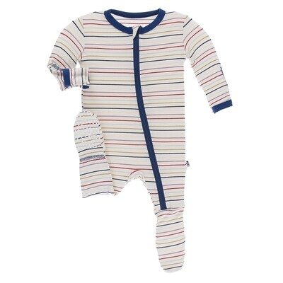 Kickee Everyday Heros Multi Stripe Footie w/Zipper