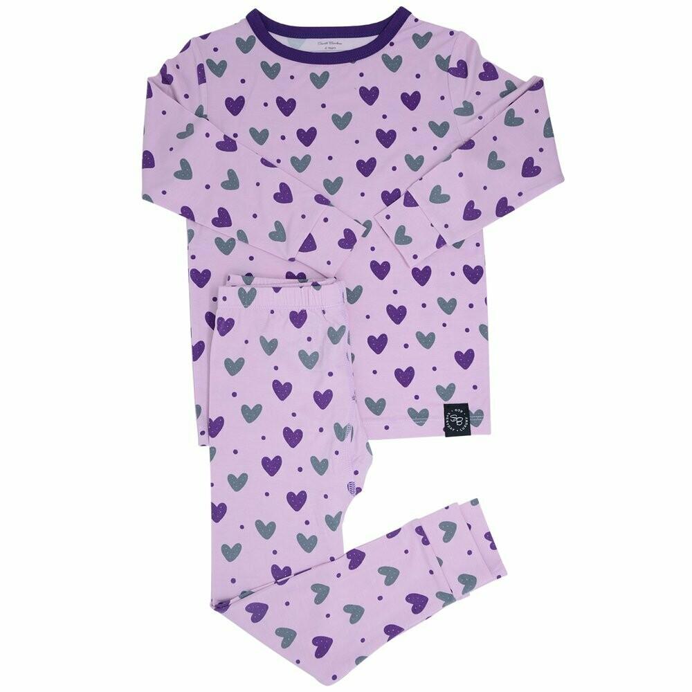Sweet Bamboo Purple Hearts L/S PJ's