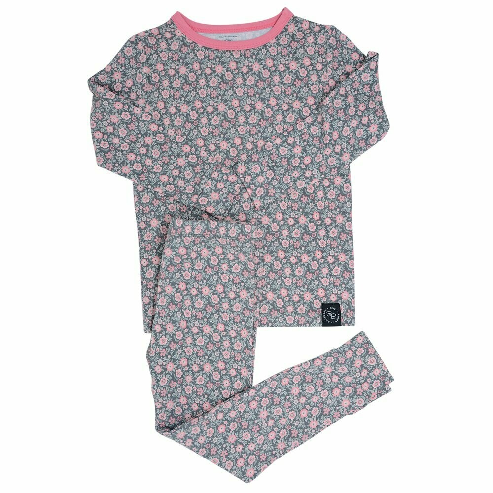 Sweet Bamboo Flower Charcoal L/S PJ's