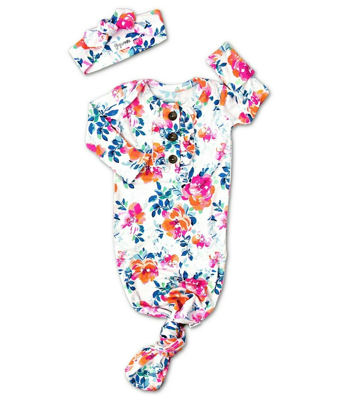 Gigi & Max Bella Floral Knotted Button Newborn Gown & Headband