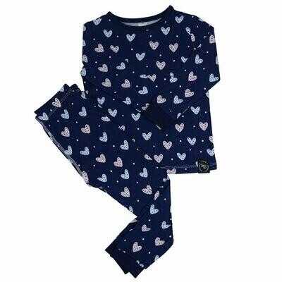 Sweet Bamboo Girls Blue Hearts L/S PJ's