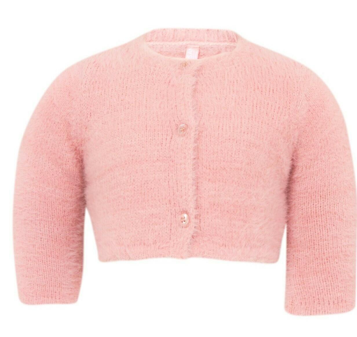 Losan Faux-fur Knit Bolero Cardigan Pink 5002