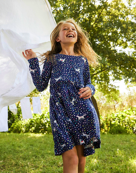 Joules Navy Unicorn Paperbag Waist Dress 209679