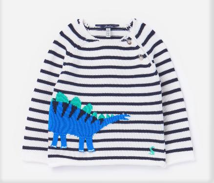 Joules Navy Stripe Dino Sweater 210334