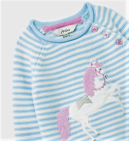 Joules Blue Unicorn Knitted Sweater 209754