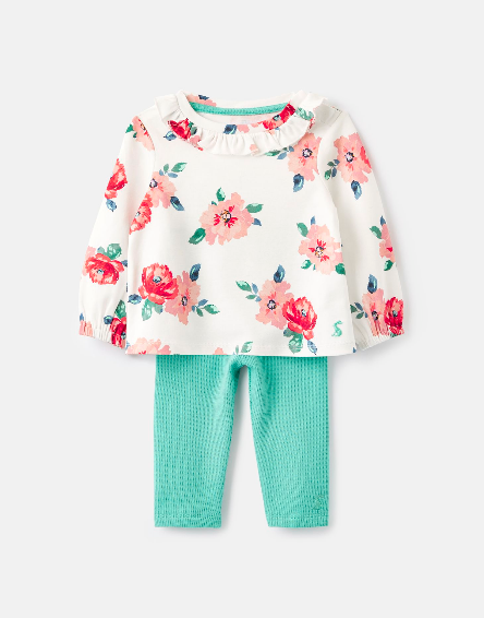 Joules White Floral Top w/Leggings 209381