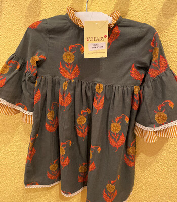 Yo Baby Grey Floral w/Bell Sleeves Dress 1777