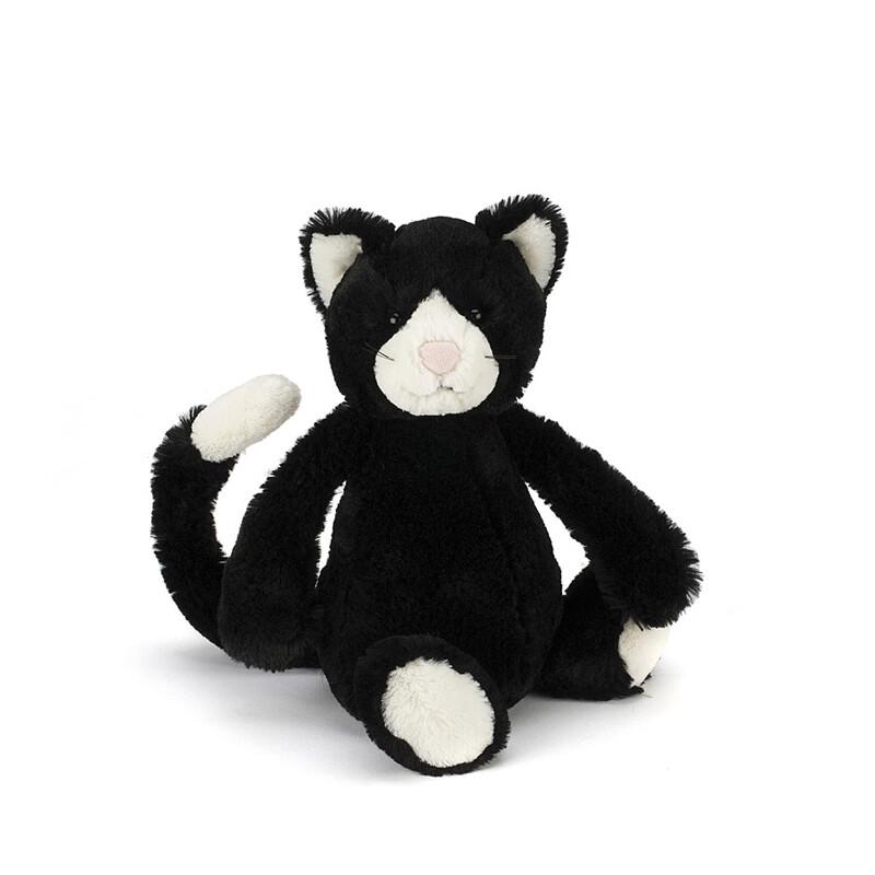 "JellyCat Bashful Black & White Cat Medium 12"""