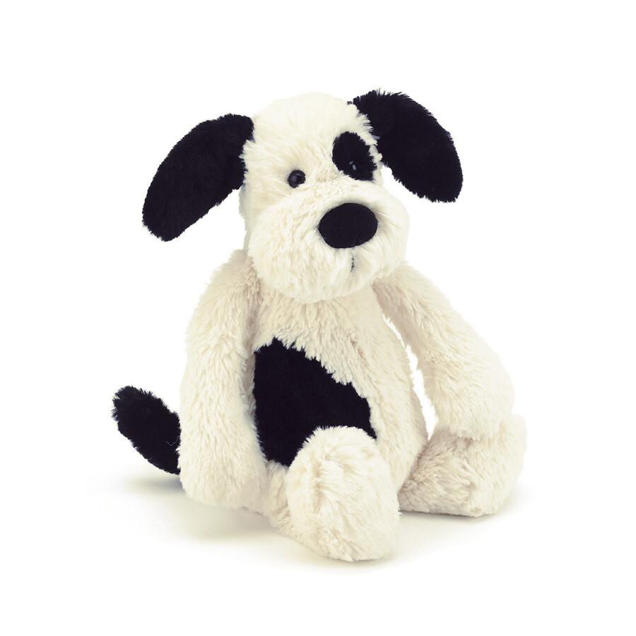 "Jellycat Bashful Black & Cream Puppy Small 7"""