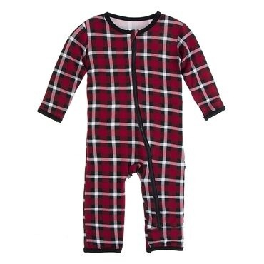 Kickee Coverall w/Zip Crimson Holiday Plaid