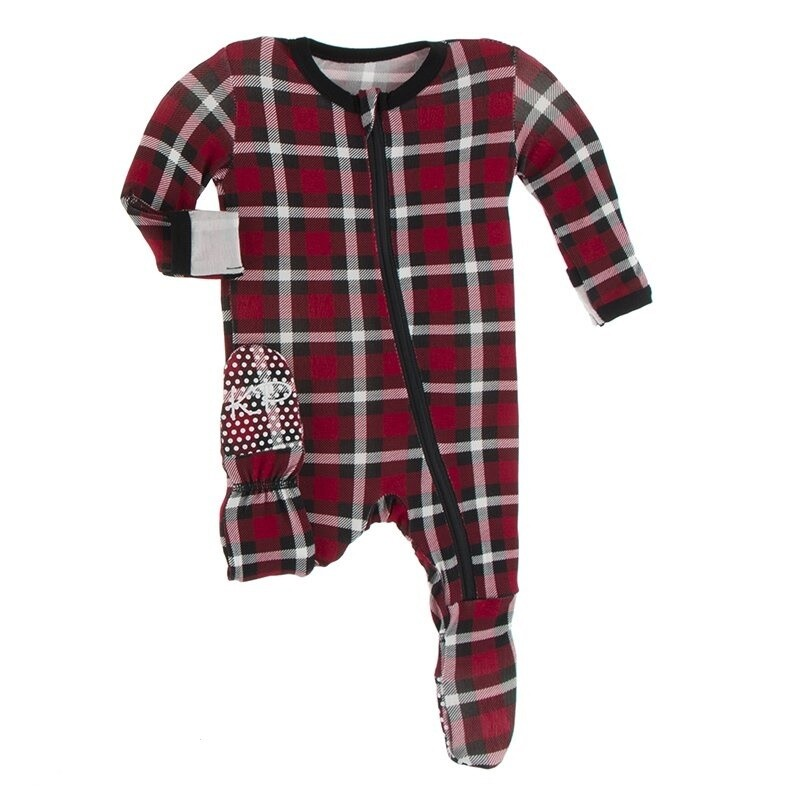 Kickee Footie w/Zip Crimson Holiday Plaid