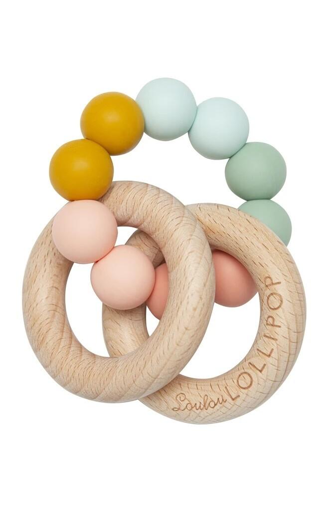 Loulou Lollipop Bubble Silcone & Wood Teether Rainbow 4391