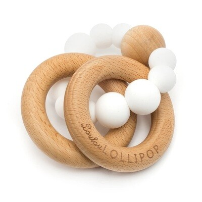 Loulou Lollipop Bubble Silcone & Wood Teether White 7302