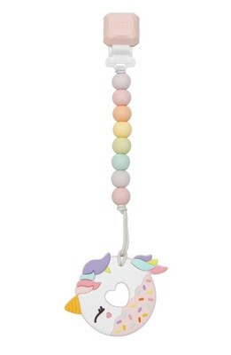 Loulou Lollipop Silicone Teether GEM Set Pink Unicorn Donut