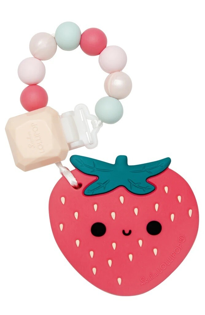 Loulou Lollipop Silicone Teether Set Strawberry