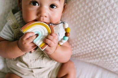 Loulou Lollipop Silicone Teether Set Neutral Rainbow
